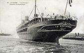 Old postcard of the Havre, Provence, transatlantic liner — Stock Photo