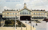 Old postcard of Amiens, North Station — Stock Photo