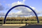 Blue arch on a roundabout — Stock Photo