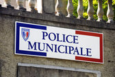 Sign the French municipal police — Stock Photo
