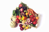 Crates of fruit and vegetables on white background in studio. — Stock Photo