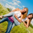 Two happy young women having fun — Stock Photo