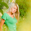 Young beautiful woman portrait among green leaves — Stock Photo #17345433