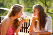 Two happy girl friends sitting in terrace cafe and chating — Stock Photo