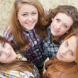 Four happy teen girls friends — Stock Photo #18246735