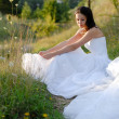 Young beautiful bride sitting on green lawn passage - Stock Photo