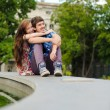 Young happy smiling couple embracing — Stock Photo