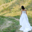 Young beautiful bride on green lawn passage — Stock fotografie