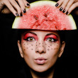 Young beautiful woman and watermelon portrait — Stock Photo