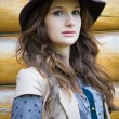 Young stylish womwearing hat — Stock Photo #18248933