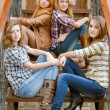 Four happy teen girls friends — Stock Photo #18249007