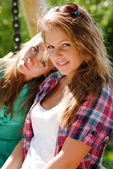Two young girl friends — Stock Photo