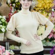 Woman in flower shop — Foto Stock