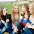 Four happy teen girls friends having fun outdoors - Stock Photo
