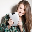 Royalty-Free Stock Photo: Picture of happy girl with tablet pc computer