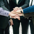 Closeup portrait of group of business with hands together — Stok fotoğraf