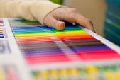 Hand selecting marker — Stock Photo