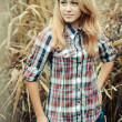Outdoors portrait of beautiful young teen blond girl. — Stock Photo