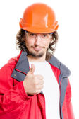 Man architector or builder showing thumb up over white background — Stock Photo