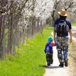 Father and son walking together on spring blooming path - Stock Photo