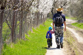 Father and son walking together on spring blooming path — Stock Photo