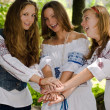Three Ethno Beauty teens having fun — Stock Photo