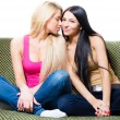 Stockfoto: Portrait of two pretty young girlfriends or sisters sitting together