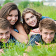 Four happy teenage friends lying together on green grass outdoors — Stock Photo