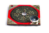 Feng shui compass and magnet compass isolated on white background — Stock Photo