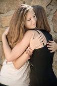 Young Girls Hug — Stock Photo