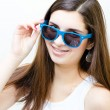 Happy teenage girl funny smiling — Stock Photo