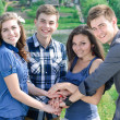 Four happy teenage friends holding hands like team — Stock Photo