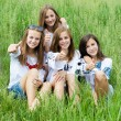 Four happy teenage friends showing thumbs up in green grass — Stock Photo