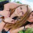 Two Teen Girl Friends Laughing  in spring or summer outdoors — Stock Photo