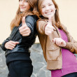 Stock Photo: Two young girl friends showing okay