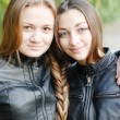 Foto Stock: Two teenage girls having their long hair twisted