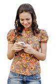 Giovane bella donna tenendo il telefono touch — Foto Stock