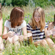 Stock Photo: Four happy teen girls sitting on green lawn and sharing secrets