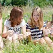 Four happy teen girls sitting on green lawn and sharing secrets — Stock Photo