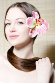 Portrait of beautiful young woman face — Stock Photo