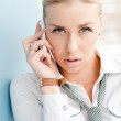 Young business woman speaking on mobile phone — Stock Photo #32493295