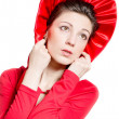 Red Hat, Young elegant happy woman wearing red dress & hat — Stock Photo