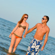 Young happy couple walking holding hands on seashore — Stock Photo #34899373