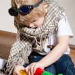 Little boy playing with constructor on floor at home — Stock Photo