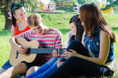 Four happy teen friends playing guitar in green summer park — Stock Photo