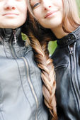 Girls with long hair twisted — Stock Photo