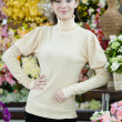 Woman in flower shop — Stock Photo
