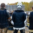 Three knights standing together before battle — Стоковое фото