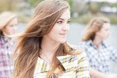 Three teen school girls — Foto de Stock