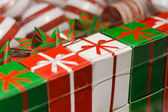 Row of bright present boxes — 图库照片